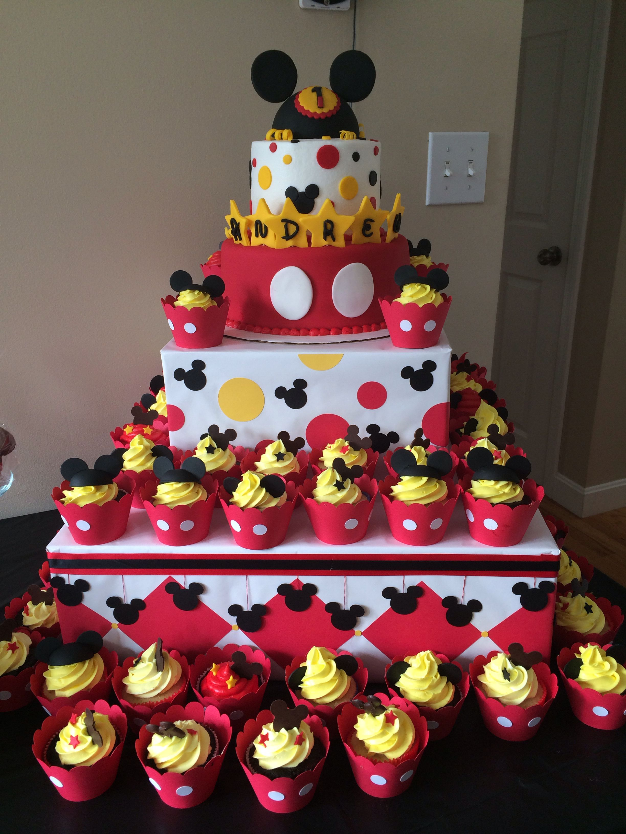 Miraculous Mickey Mouse First Birthday Cake With Images Mickey Mouse Personalised Birthday Cards Bromeletsinfo
