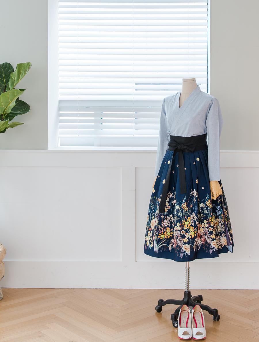 하늘 해지코튼 생활한복 셔츠 저고리 : 다래원 한복 | hanbok | Pinterest