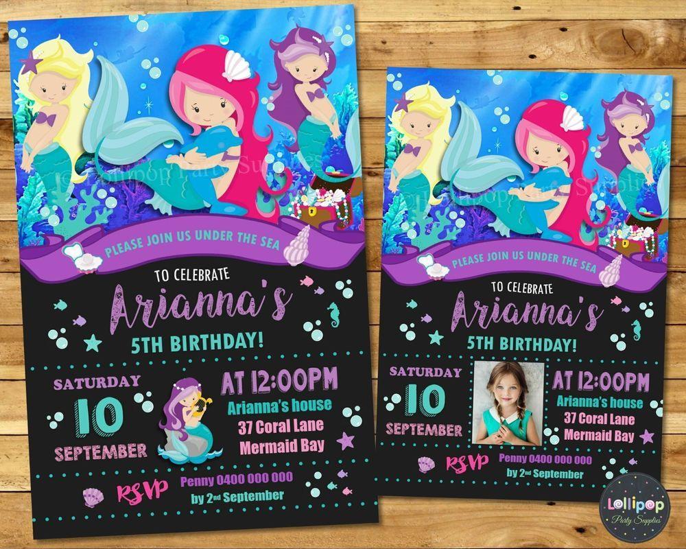 Mermaid invitations birthday invites birthday personalised sea horse ...