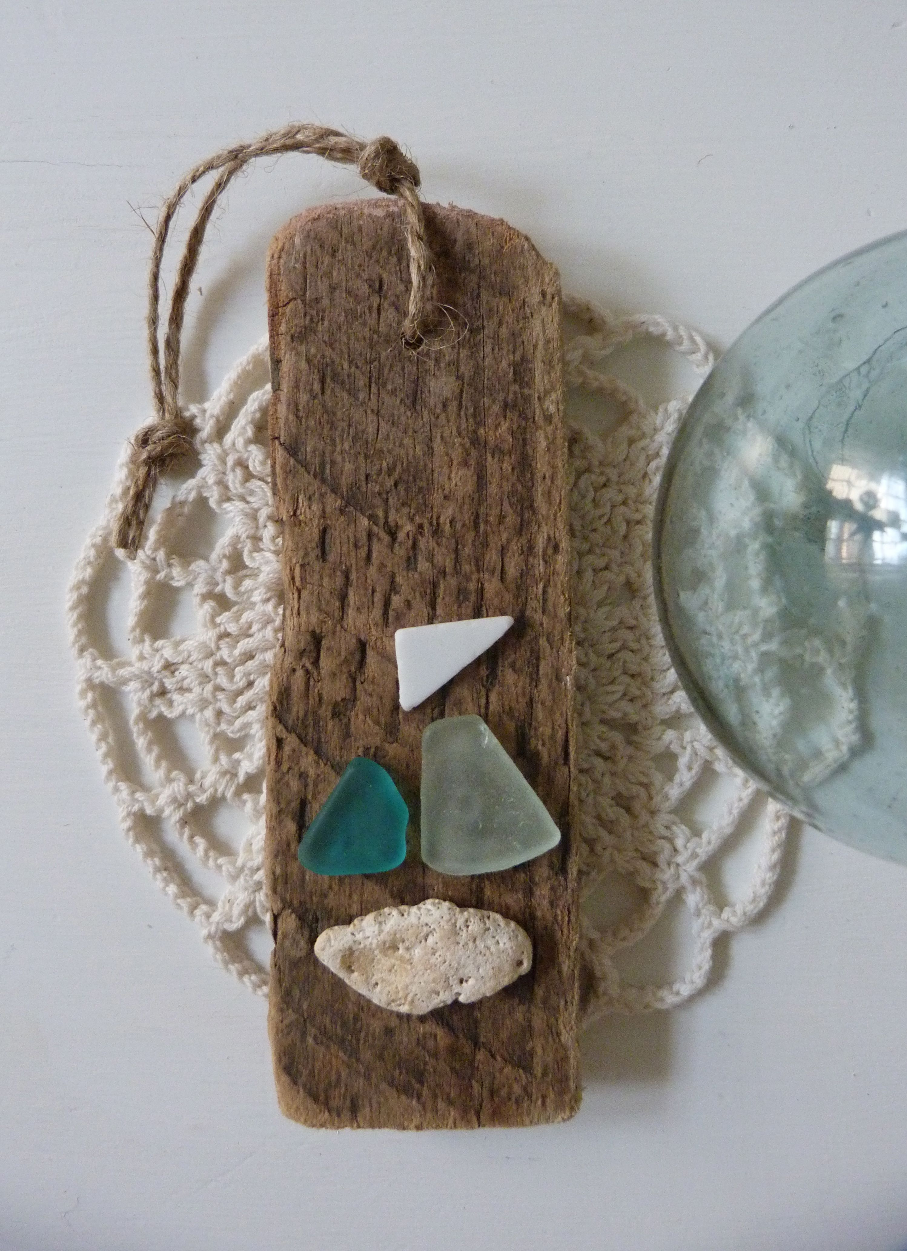 driftwood sea glass sea pottery decoration for a beach christmas or any time