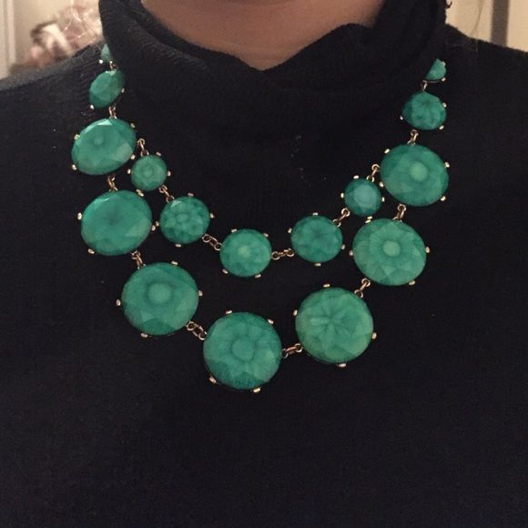 Statement necklace Large Teal/green necklace with gold accents statement piece Accessories