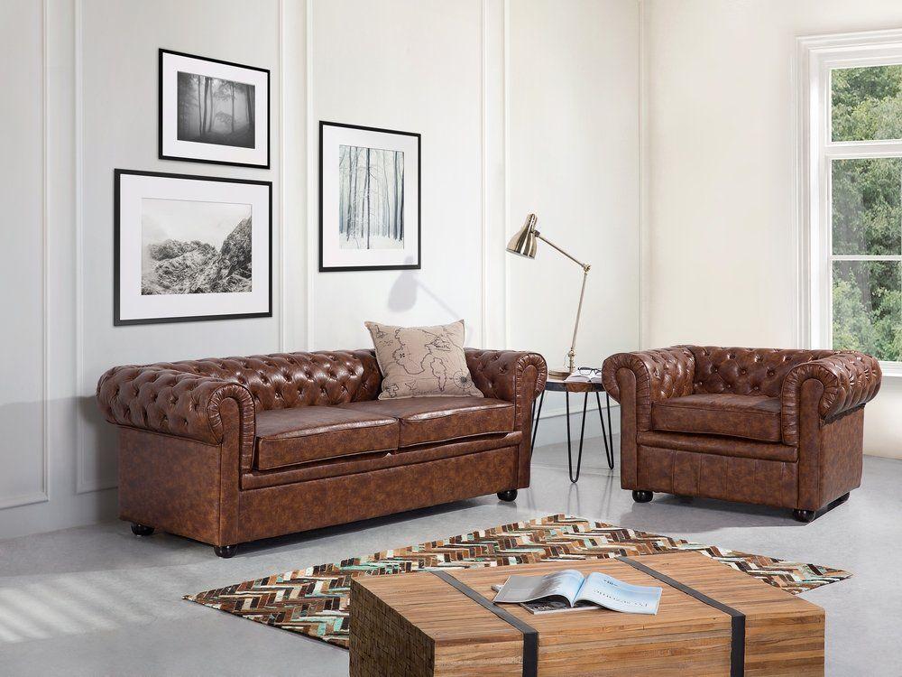 Gratis Leren Bankstel.3 Zits Bank Leren Sofa Leren Bank Old Style Bruin