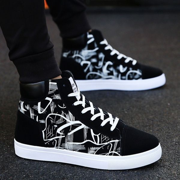Men Fashion Casual Sneaker High Top Lace Up Skateboard Shoes Student Shoes Canvas Shoes for Men Casual Shoes  Wish Source by sosawi0365 Shoes