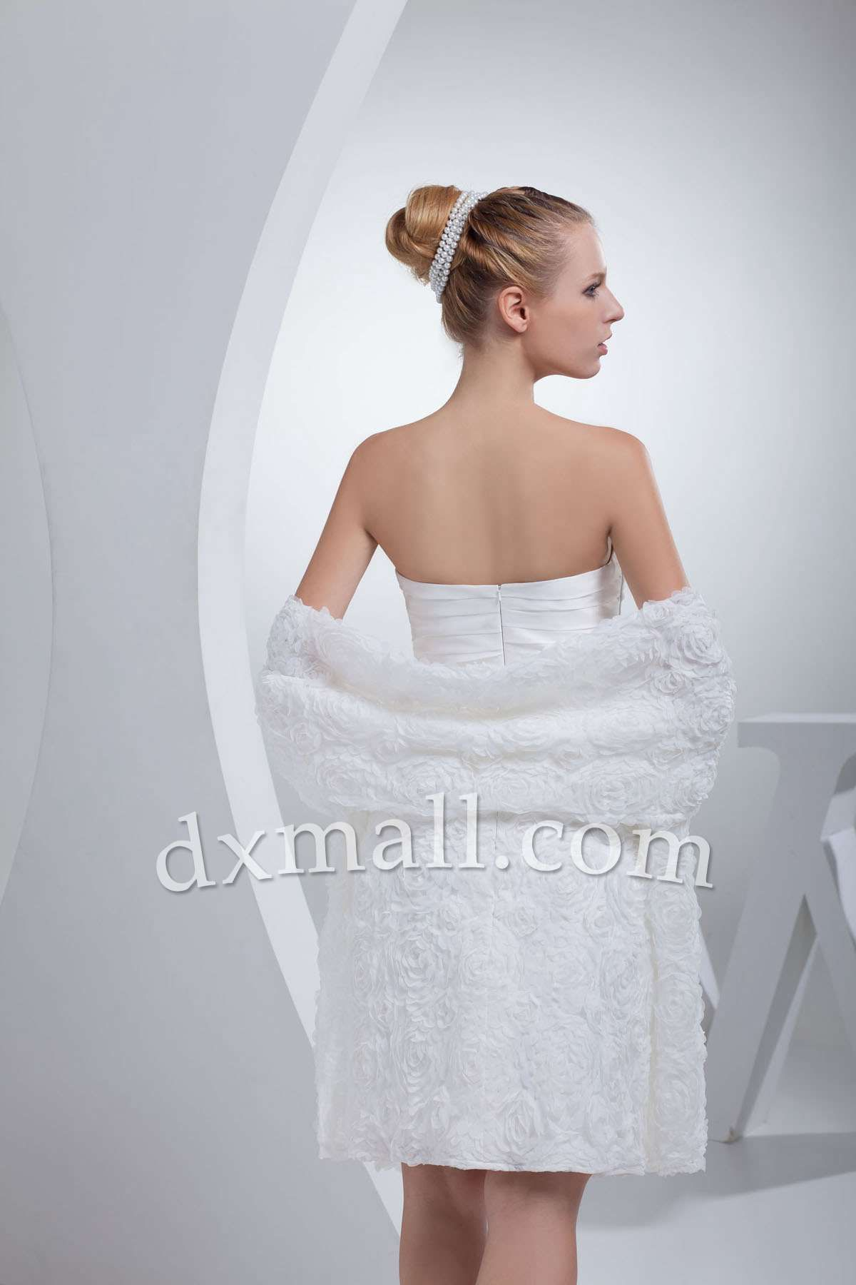 Aline Wedding Dresses Strapless ShortMini Lace Taffeta White