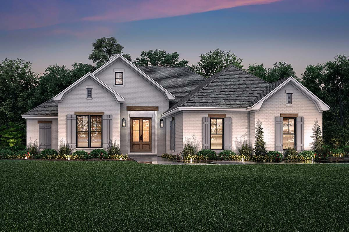 Traditional Style House Plan 56709 With 3 Bed 2 Bath 2 Car Garage French Country House Plans Brick Exterior House Farmhouse Style House Plans