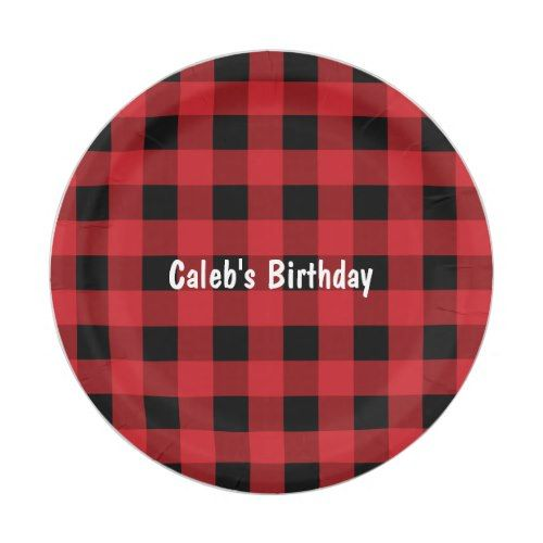 Red u0026 Black Plaid Checkered Birthday Paper Plates  sc 1 st  Pinterest & Red u0026 Black Plaid Checkered Birthday Paper Plates | Party Paper ...