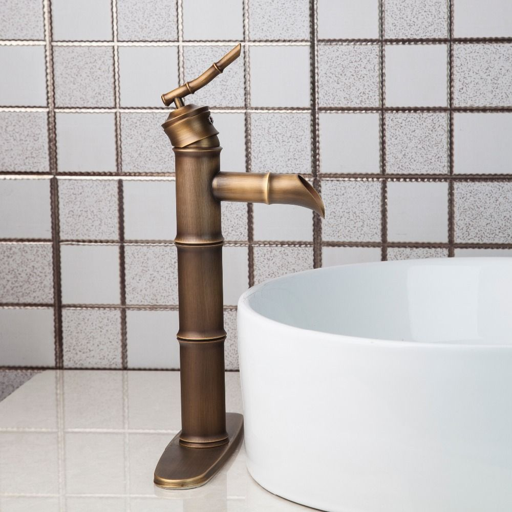 Shivers Traditional Bamboo Shape Antique Brass Bathroom Sink Single ...