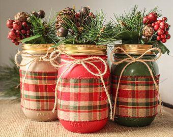 Mason Jar Christmas Decorations Mason Jar Decor Pièce Maîtresse De Pot Mason Mason Jar Noël