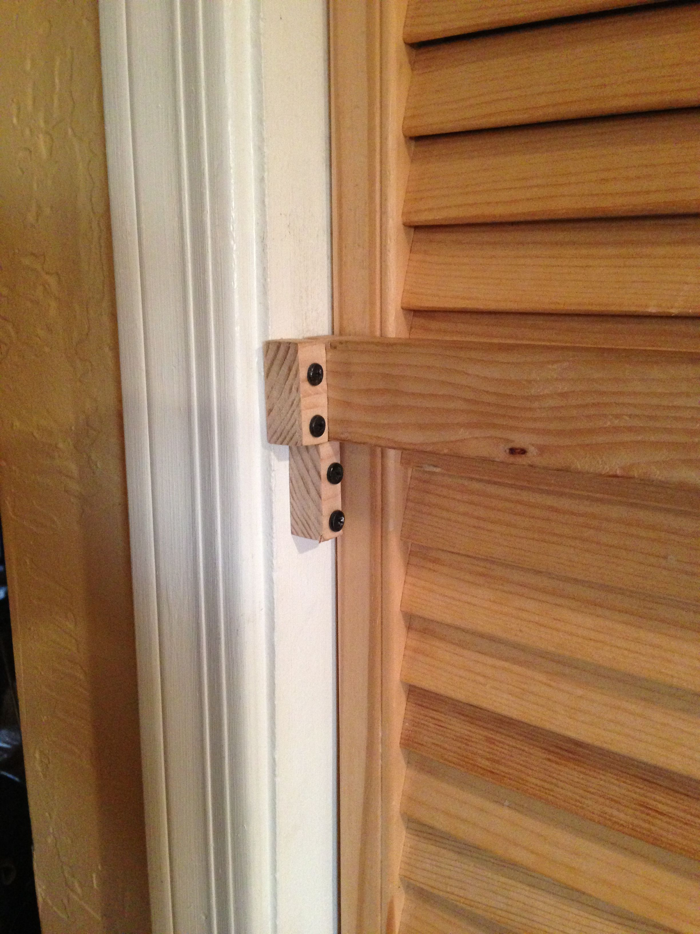 Only 8 Screws Were Used To Perfect This Pantry Door Lock I Pre Drilled The Wooden Blocks I Made Then Pre Drilled The Doo Door Frame Door Handles Wooden Blocks