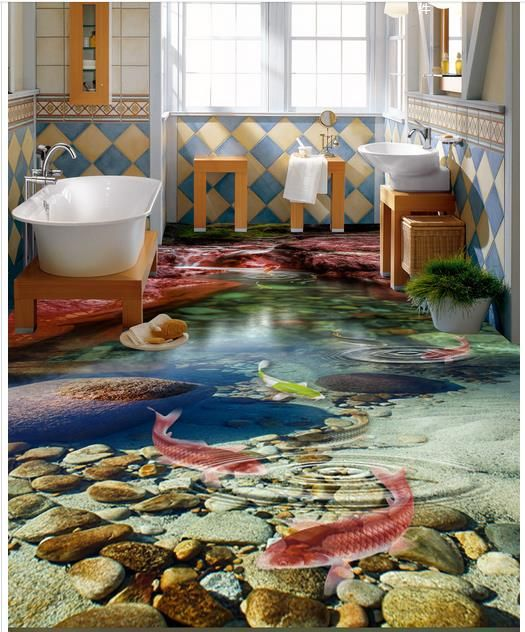 3d Bathroom Tiles For Flooring Art With Underwater Lifelike Creatures And Greenery With Stones And Pebbles In Real 3d Flooring Epoxy Floor Designs Floor Design