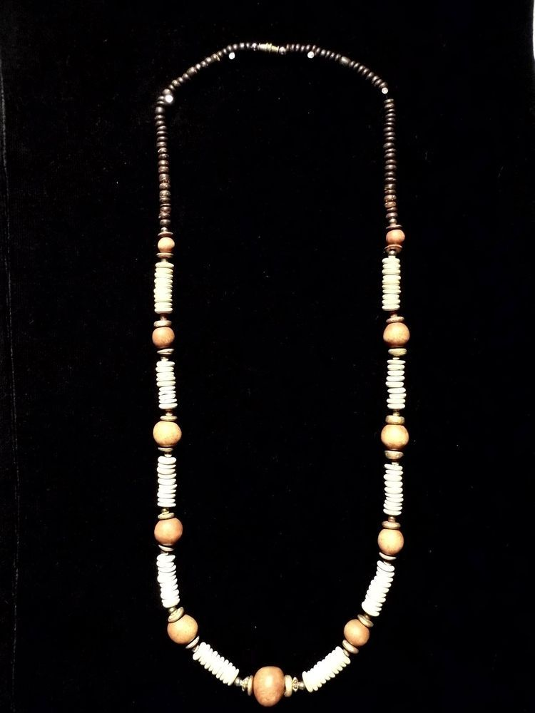 dfb3c34557275 Vintage Bead Wood Grain Two Tone Necklace Costume Fashion Jewelry ...