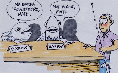 Barramundi Joke Fishing Humor Fish Peanuts Comics