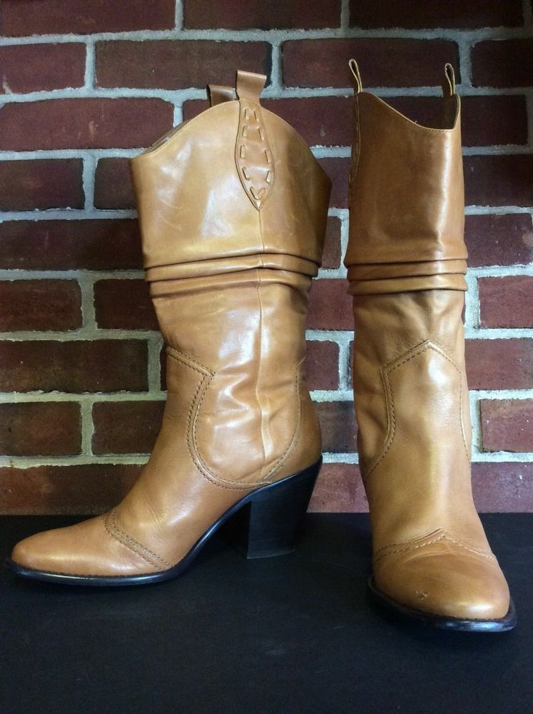 c4ce75d2c53 Details about BCBG WOMEN's Light Brown Leather Cowboy Boots 9B ...
