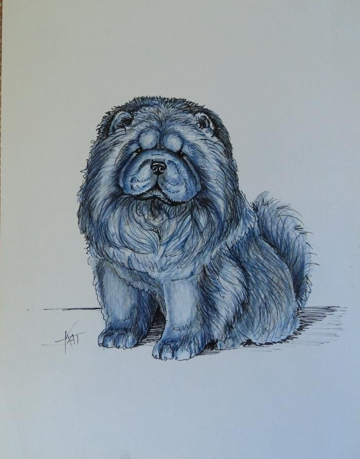 Whimsical Blue Chow Chow By Kathleen Zins I Know This Person She