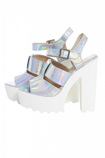 Chunky Ankle Contrast Metallic Strap Shoe