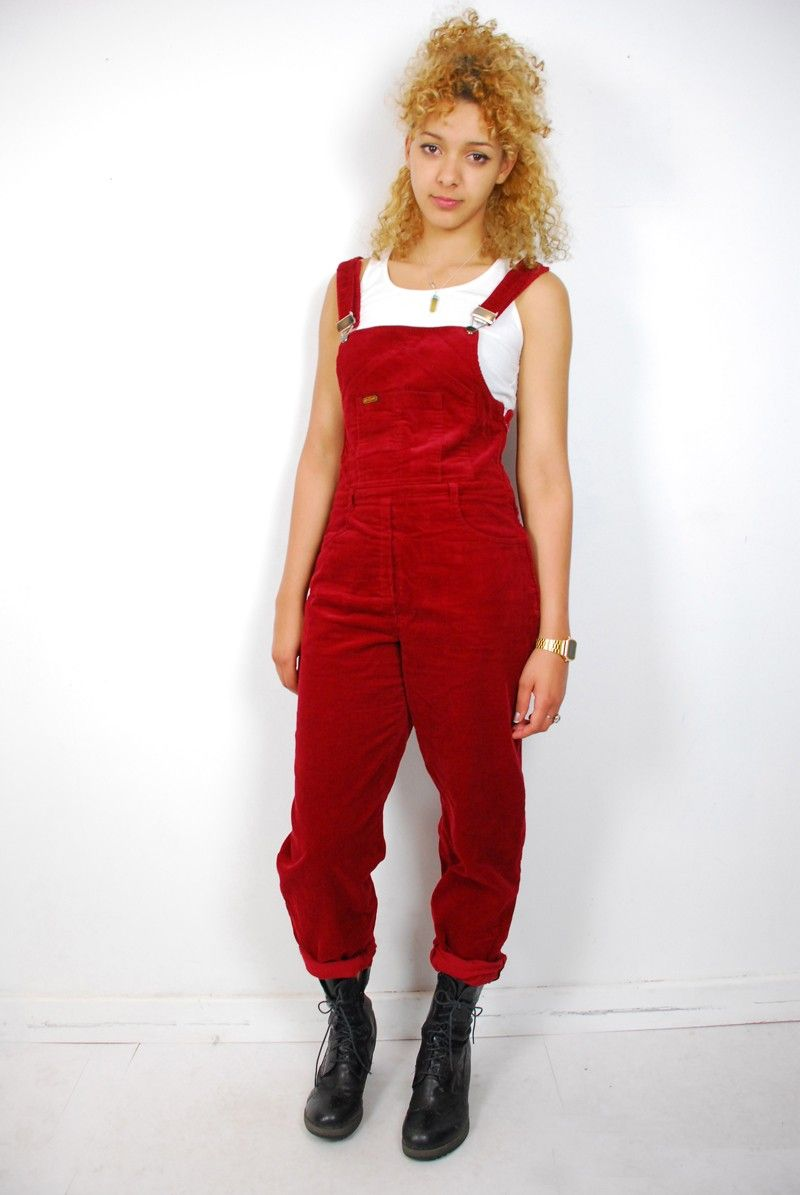 USKEES ANNA Dungaree Shorts in red. Relaxed fit bib overall shorts ...