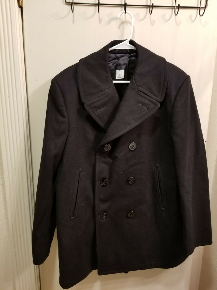 NWT U.S. NAVY ISSUE WINTER PEA COAT MEN 44 R 100 WOOL