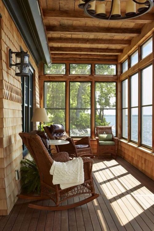 Lake house screened in porch make mine rustic for Log cabin sunroom additions
