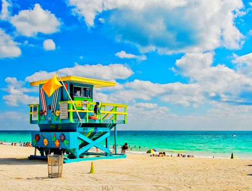 bright lifeguard tower- Miami Beach, Florida