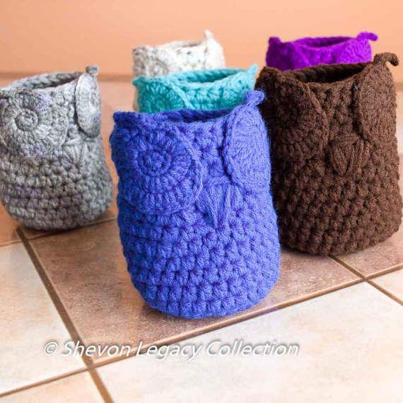 Mini Owl Basket Crocheted Bin Pen Holder Home Organizer Custom