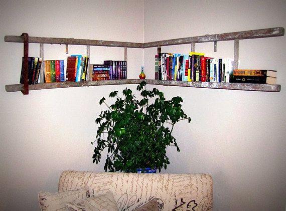 Vintage Wooden Corner Ladder Bookshelf With Metal Strap