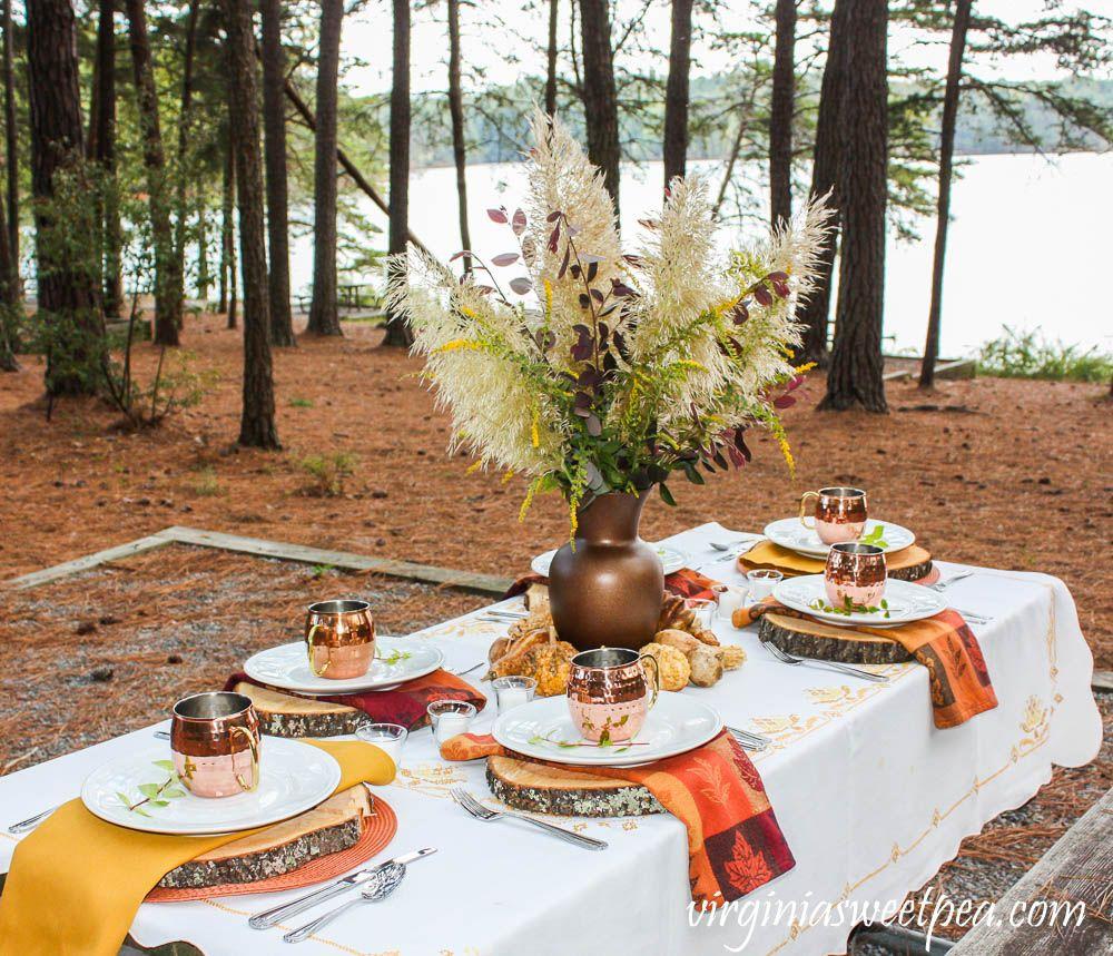 Lakeside woodland fall tablescape fall table coffee