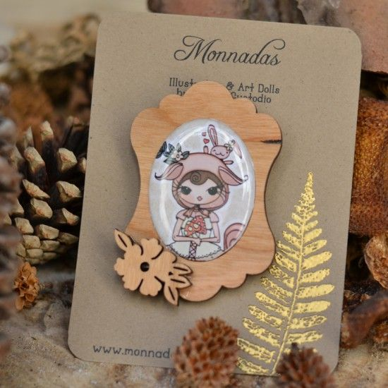 """Wood brooch with one of the illustrations from my """"In the Forest"""" Collection"""