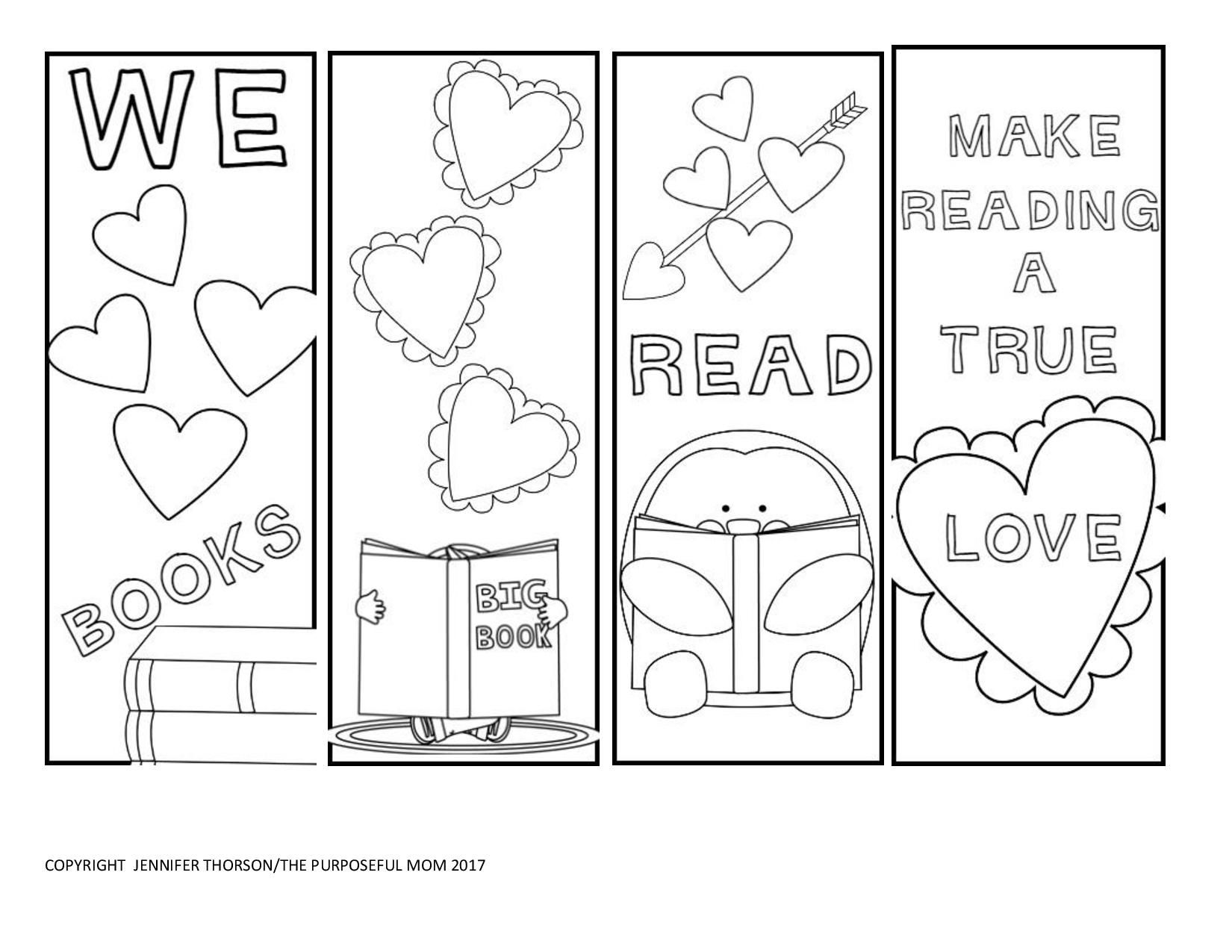 Free Valentine S Day Bookmarks To Color Printable Valentine
