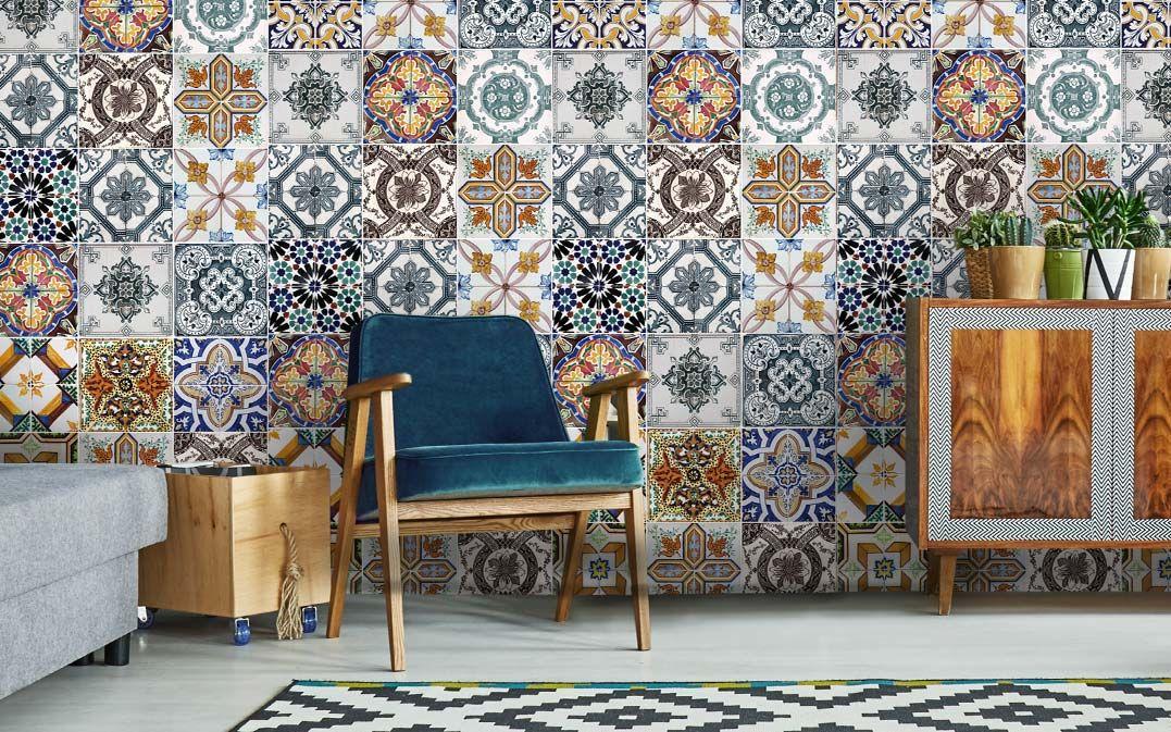 Hip Behang Woonkamer : Hip tegel behang voor een mediterraanse uitstraling van je keuken