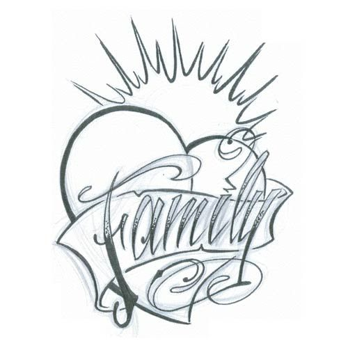 Family Tattoo Drawings: Family Heart Heart Design, Art, Flash, Pictures, Images