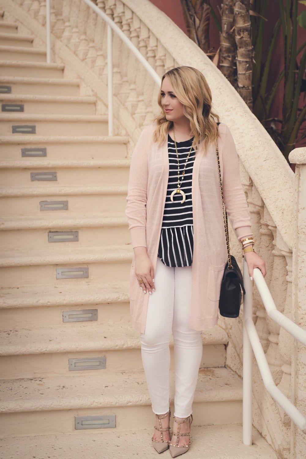 Blush Pink Cardigan   Striped Peplum Tank- The | Pink cardigan ...