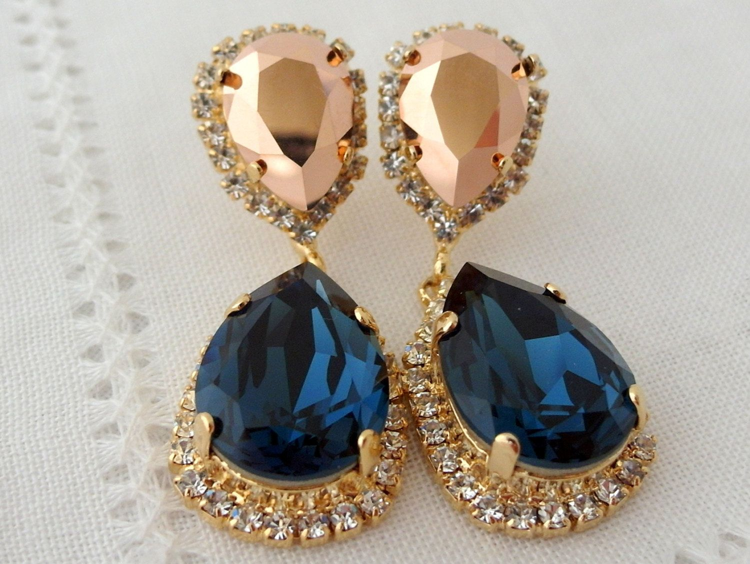 Navy blue and rose gold chandelier earrings drop earrings dangle navy blue and rose gold chandelier earrings drop earrings dangle earrings bridal earrings arubaitofo Choice Image