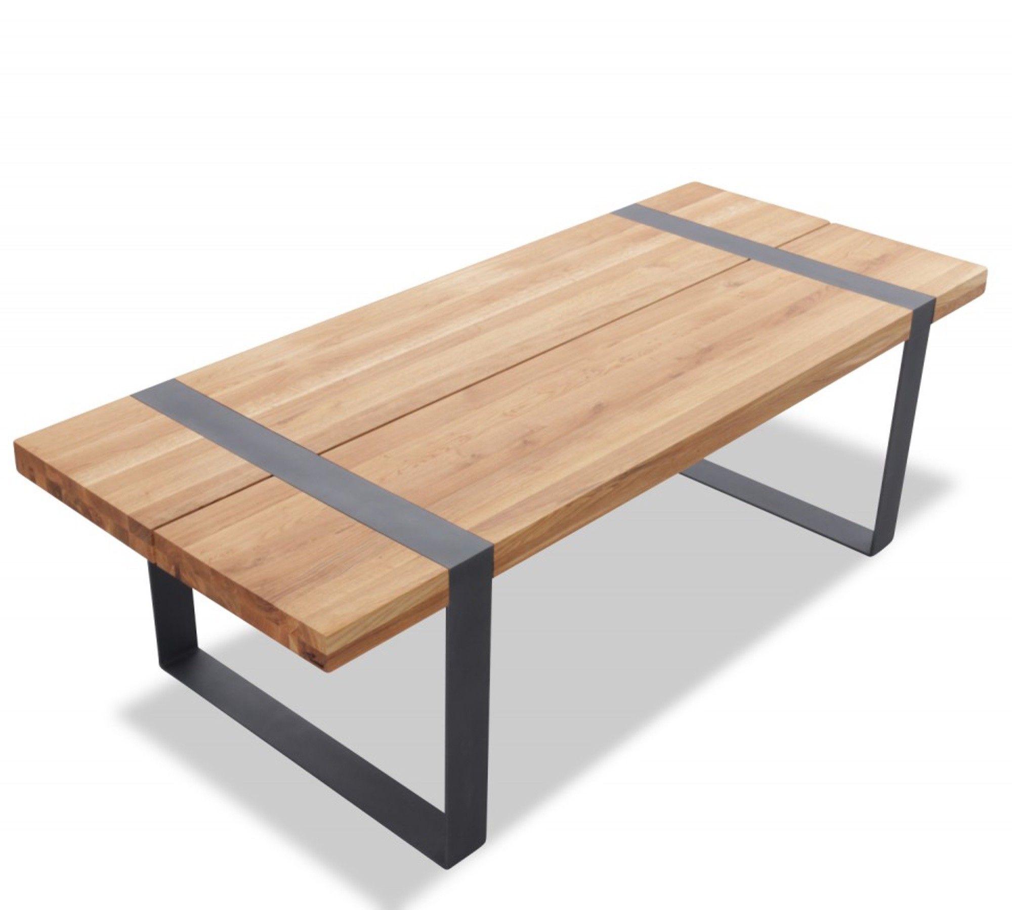 Tisch Industrial doowood tisch industry in massivholzplatte eiche mit stahlgestell