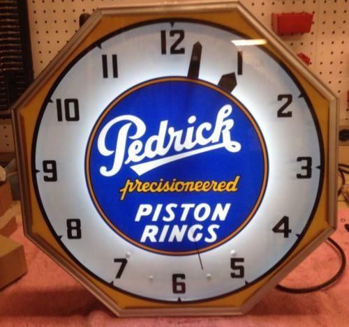 Pedrick Piston Rings Neon Gas Station Clock Sign