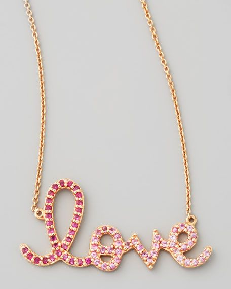 Sydney Evan - Large Ruby/Pink Sapphire Love Necklace ...