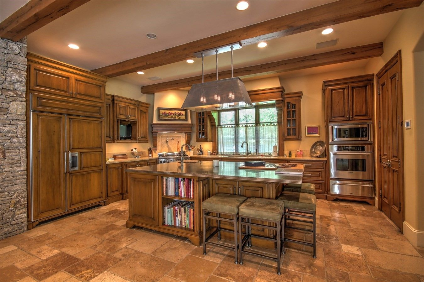 Inviting kitchen with warm wood and rustic stone. | Warm ...