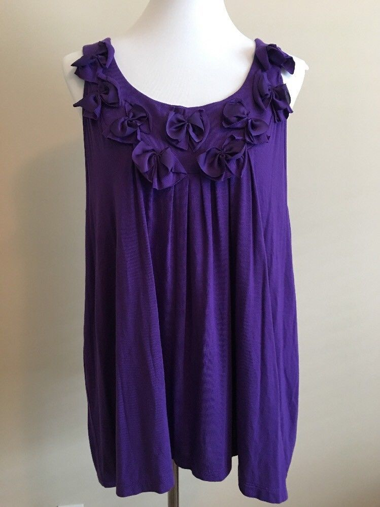 5f40668ed81 New Lane Bryant Women s Sleeveless Blouse Plus Sz 18 20 Purple Tank Top  Bows  LaneBryant  TankTop  CareerCasual