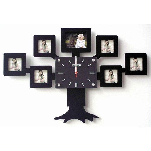 Creative Motion Family Tree Clock With Picture Frame Decor