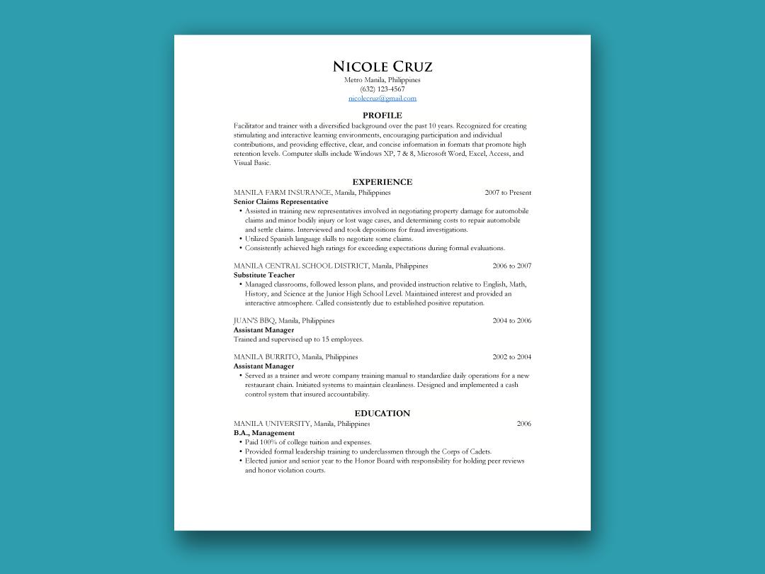 Chronological Resume Inforati Philippines