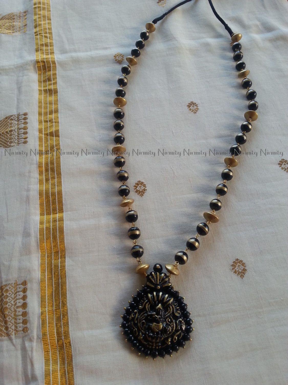 Krishna terracotta jewelrylong Black and gold Krishna Terracotta