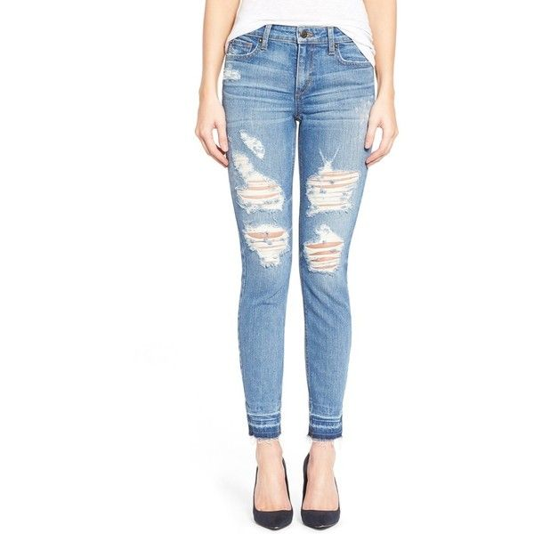 Joe's 'Collector's - Icon' Destroyed Ankle Skinny Jeans (€175) ❤ liked on Polyvore featuring jeans, mazie, ripped jeans, faded blue jeans, skinny ankle jeans, destroyed jeans and ankle zipper skinny jeans