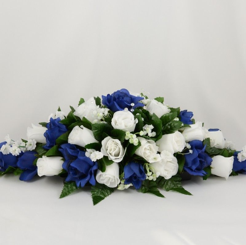 For Silk Wedding Flowers Click Through To View Our Navy Blue And White Rose Table Decorations Or Create Your Own With Petals Polly