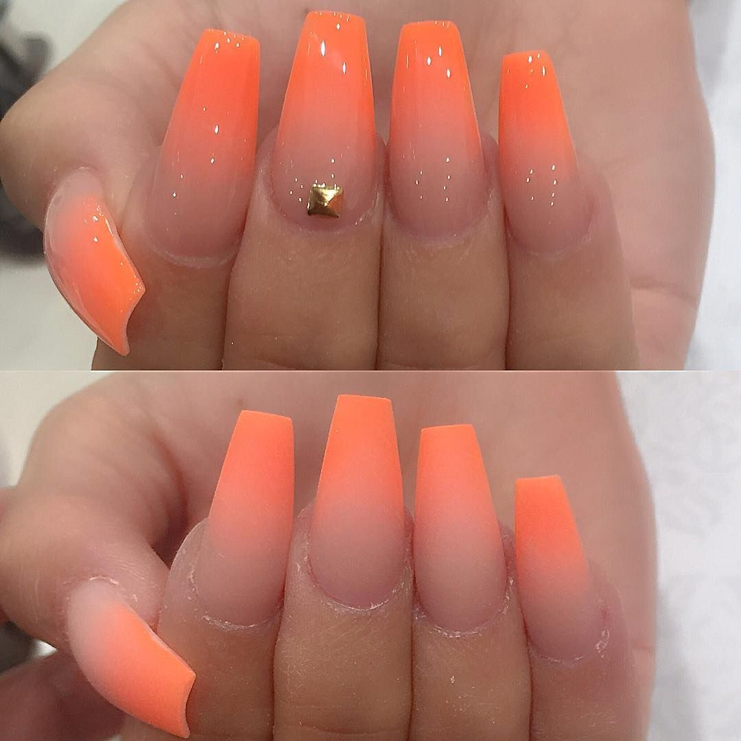 Matte Or Shine Can T Decide With Her Harriethearsch She Make My Day Happy All Pow Orange Ombre Nails Acrylic Nails Coffin Ombre Coffin Nails Designs