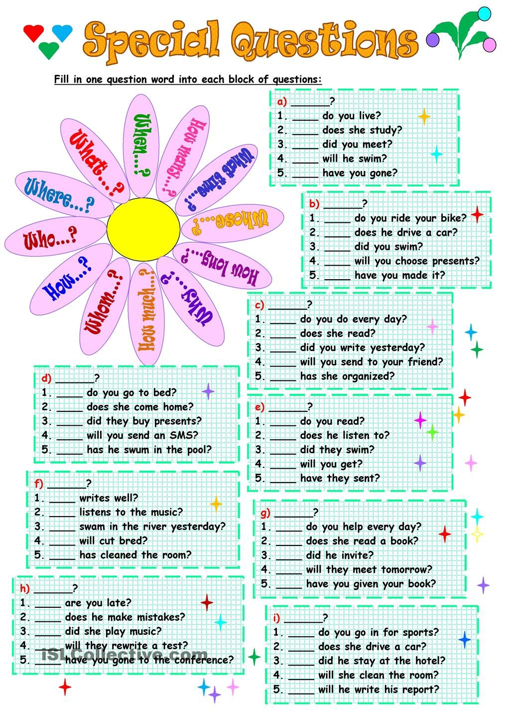 Special Questions | Teacher | Pinterest | English, Worksheets and Wh ...