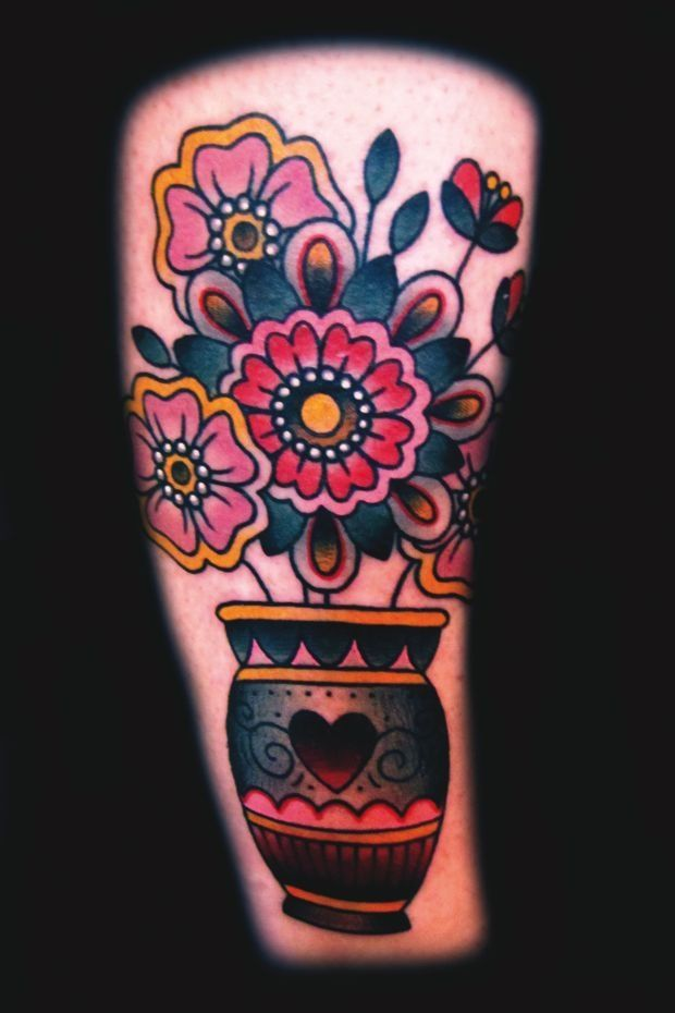 Traditional Tattoo Flowers In Vase Google Search Hairbeauty