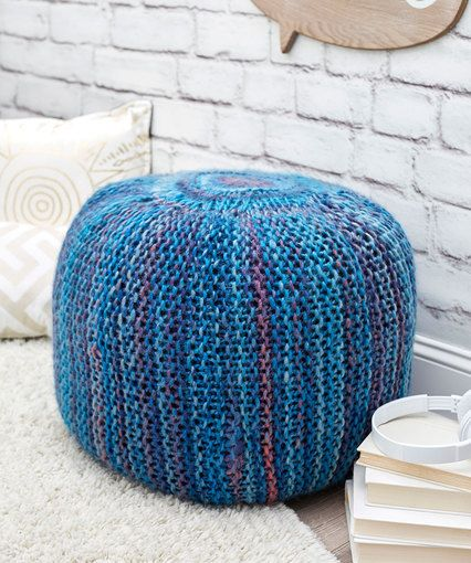 Pop Of Color Knit Pouf By Laura Bain Free Knitting Pattern