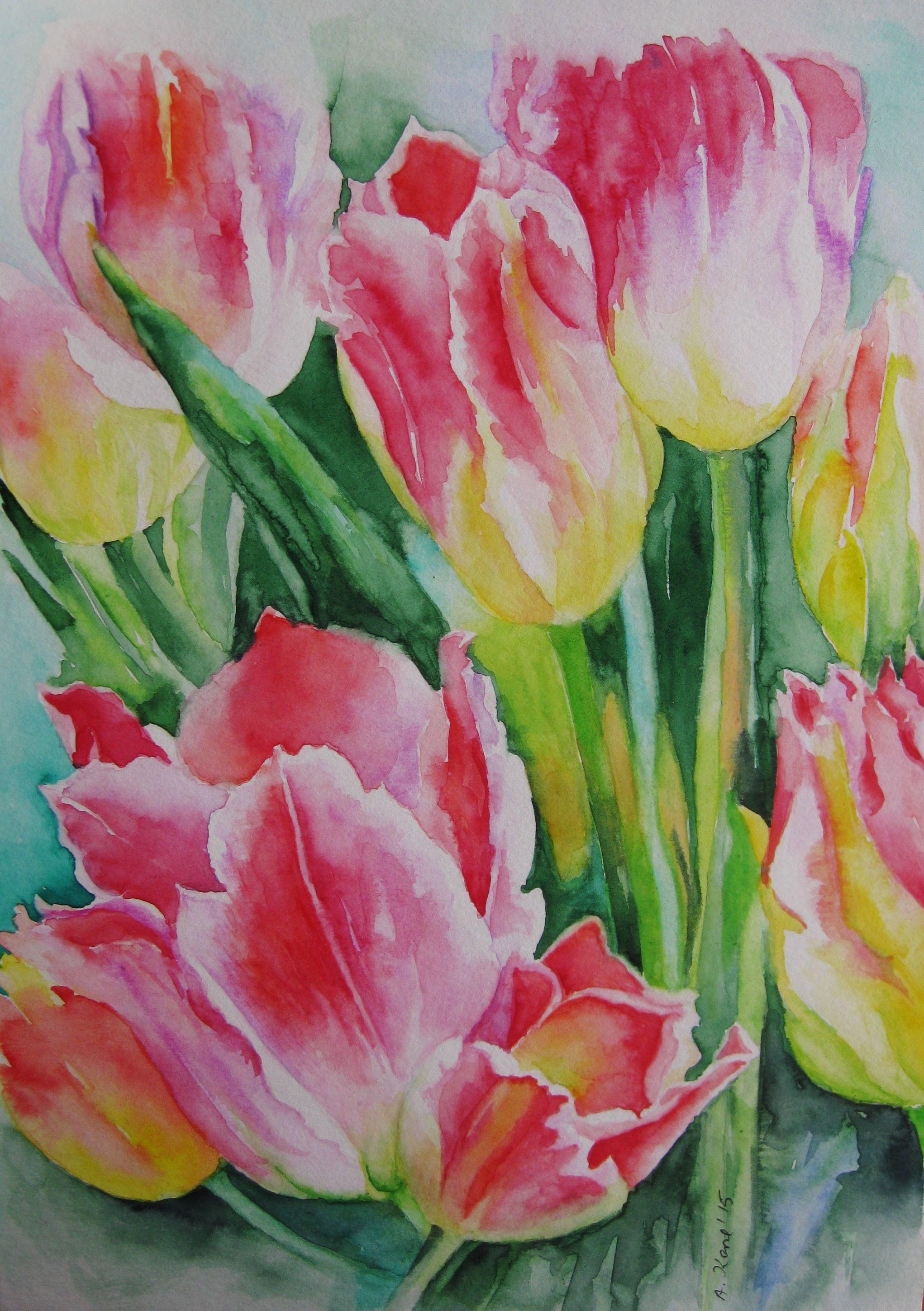 Tulpen 2015 Aquarell Nach Foto Aranka Karl Aquarell Blumen