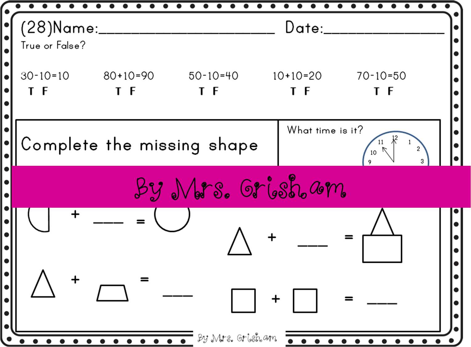 1st Grade Common Core Math Morning Work Homework