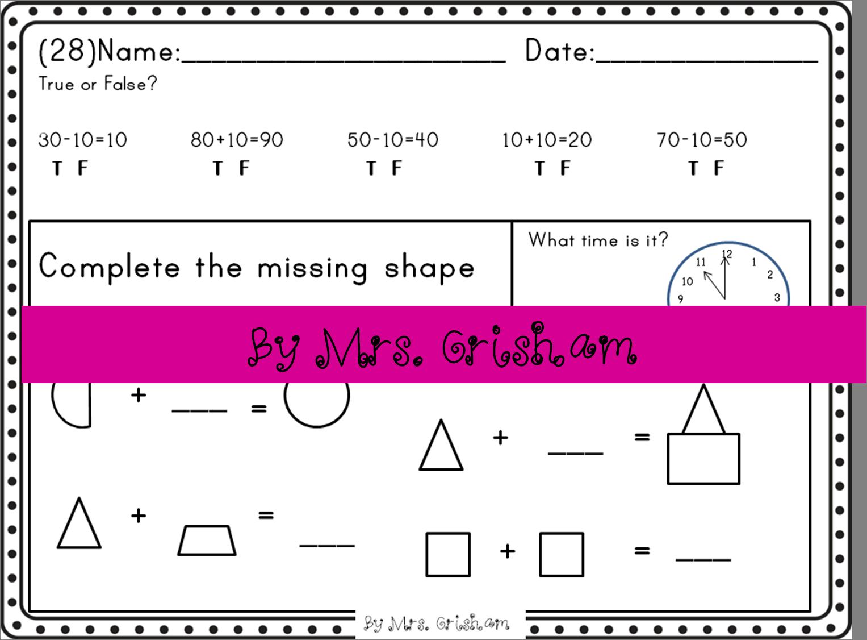 1st Grade Common Core Math Morning Work Homework