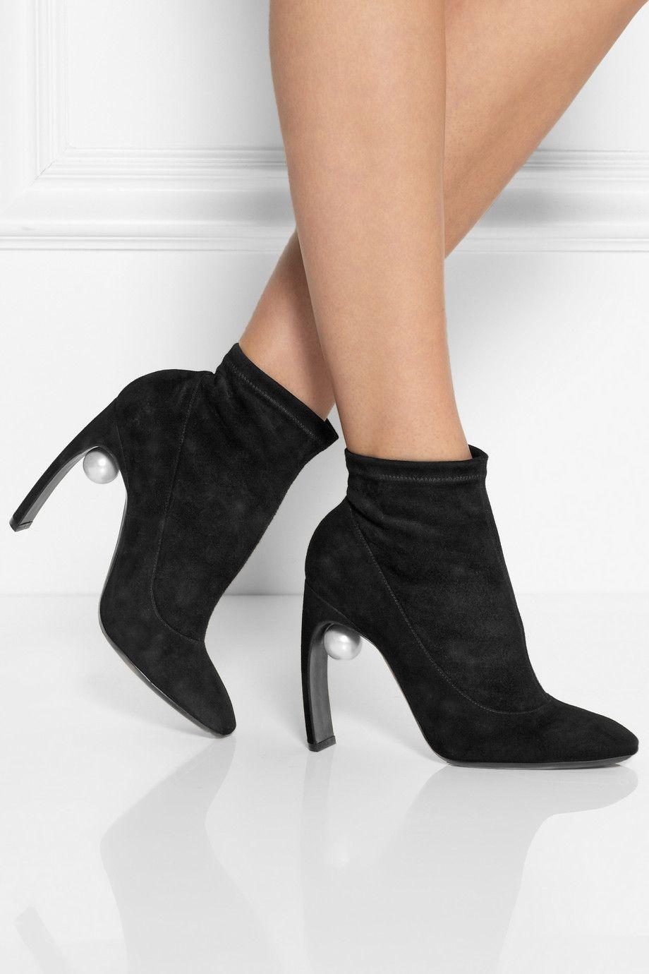 Nicholas Kirkwood|Embellished stretch-suede ankle boots|NET-A-PORTER.COM